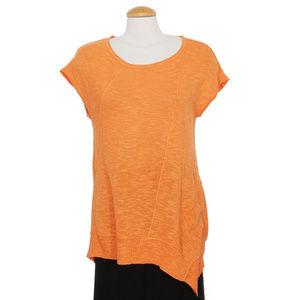 Orange Linen Cotton Slub Asymmetrical Sweater XS